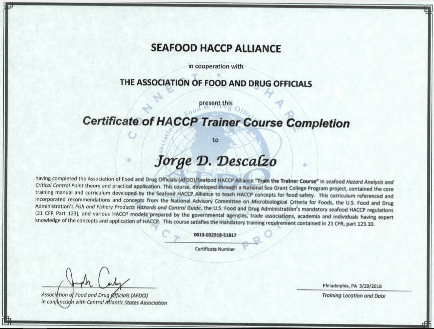Seafood HACCP and SCP official courses (Certificates issued